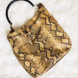 GUCCI Vintage Snakeskin Bamboo Handle Shoulder Bag